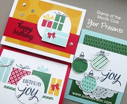 Stampin' Up! Your Presents Card Kit; 2015 Holiday Catalog #stampinup Stamp of the Month Club Card Kit www.juliedavison.com