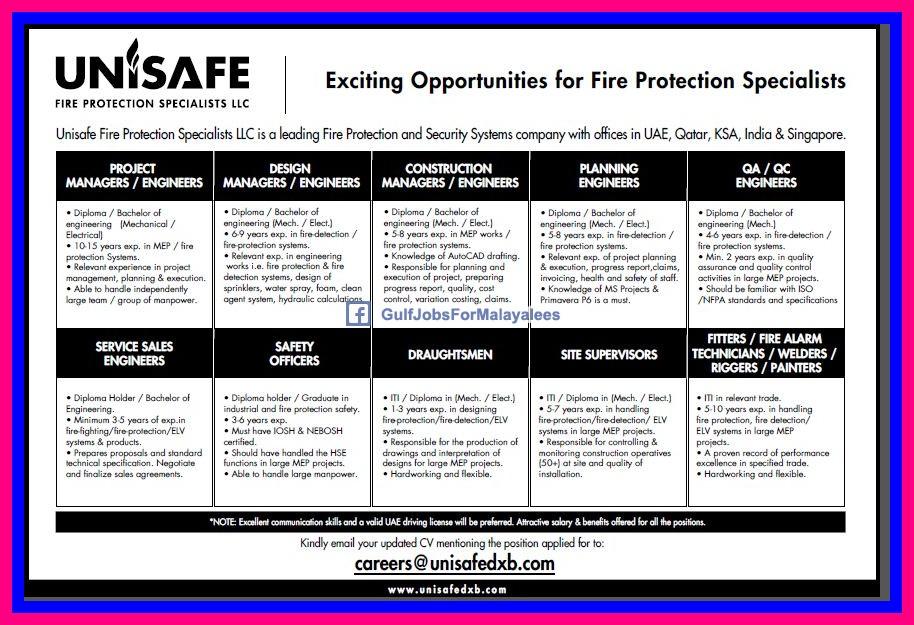 Vacancies In UNISAFE - UAE, Qatar, KSA, India & Singapore ...