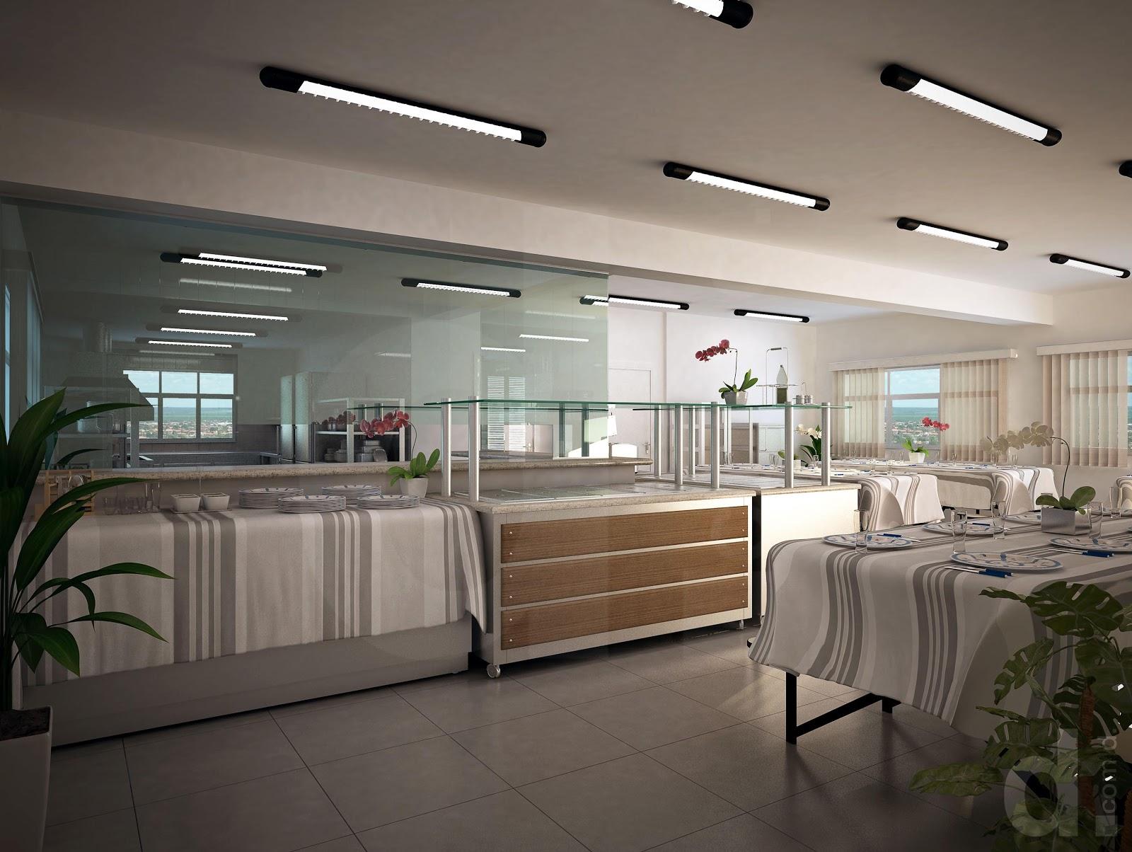 Decoração • 3D.: Refeitório e Cozinha Industrial Cotia SP #766655 1600 1204