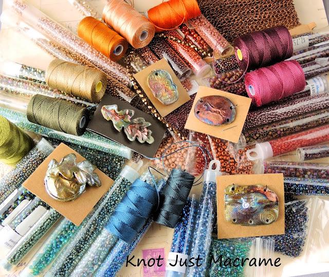 Beads, cord and art beads (pendants) in raku colors.