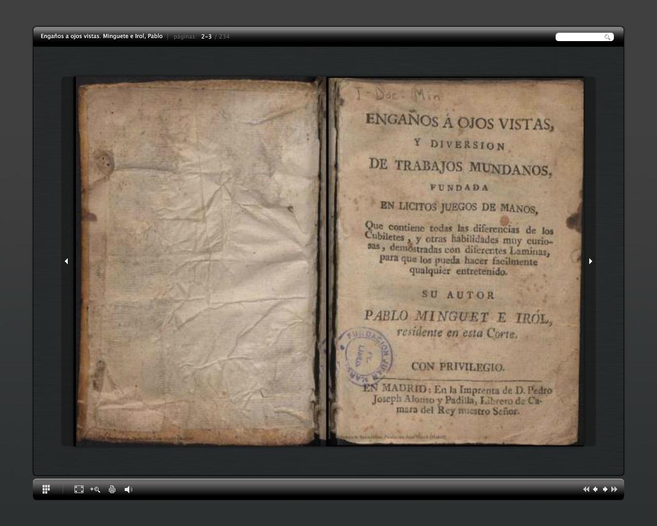 Libro de ilusionismo de 1733