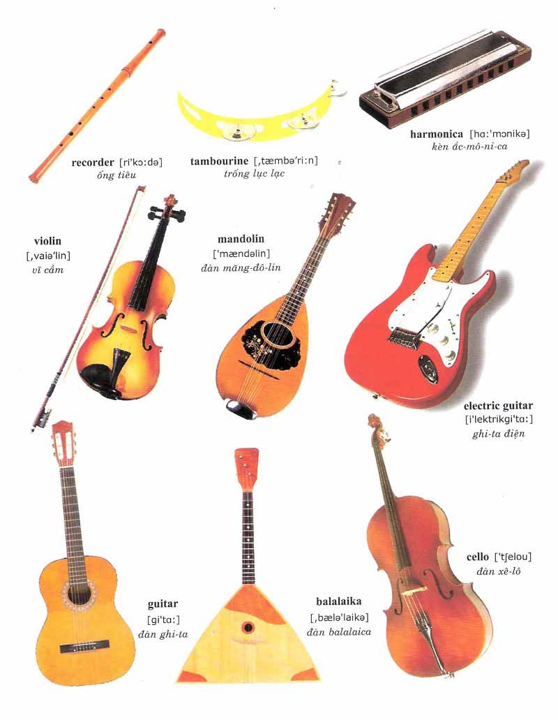 Learning Vocabulary With Pictures Musical Instruments 1