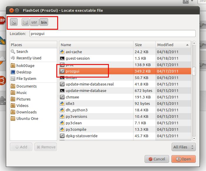 Memilih file binary ProzGUI
