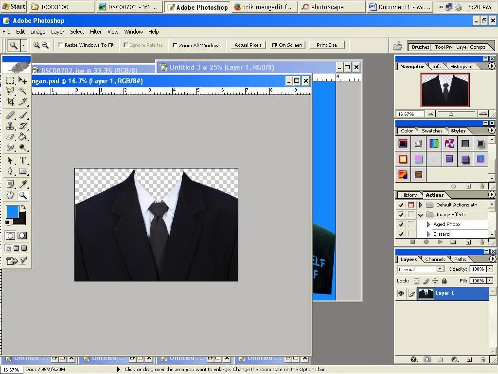 Cara ganti background dan pemasangan jas, photo KTP/ Surat Nikah ...