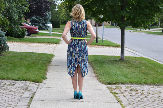 Neon, feathers, dress, marshalls, smart set, neon belt, yellow, rocket dog, blue shoes, blue, heels