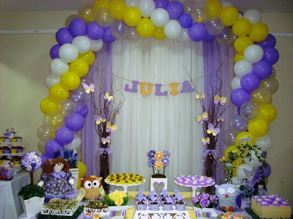 Cambalhota Ateliê de Festas Infantis Lilás e amarelo para Júlia !!