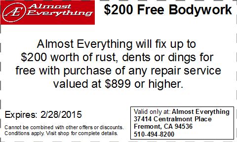 Coupon $200 Free Bodywork Discount February 2015