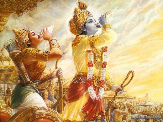 Lord Krishna and Arjuna Blowing Shankh in Kurukshetra