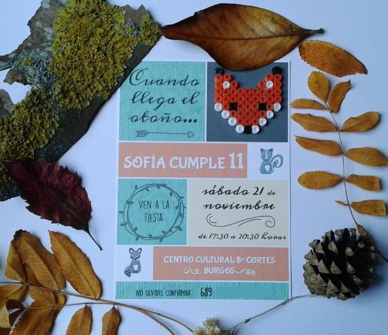 imagen_efimerata_burgos_cumpleaños_organizacion_otoño_animales_bosque_hojas_niñas_once_años_invitacion_perlas_hamma_diy