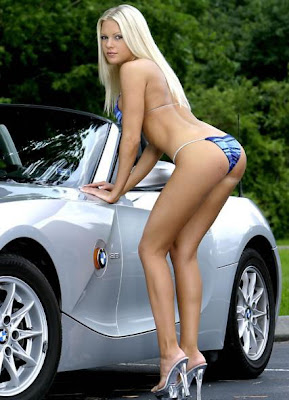 Sexy Blonde by car
