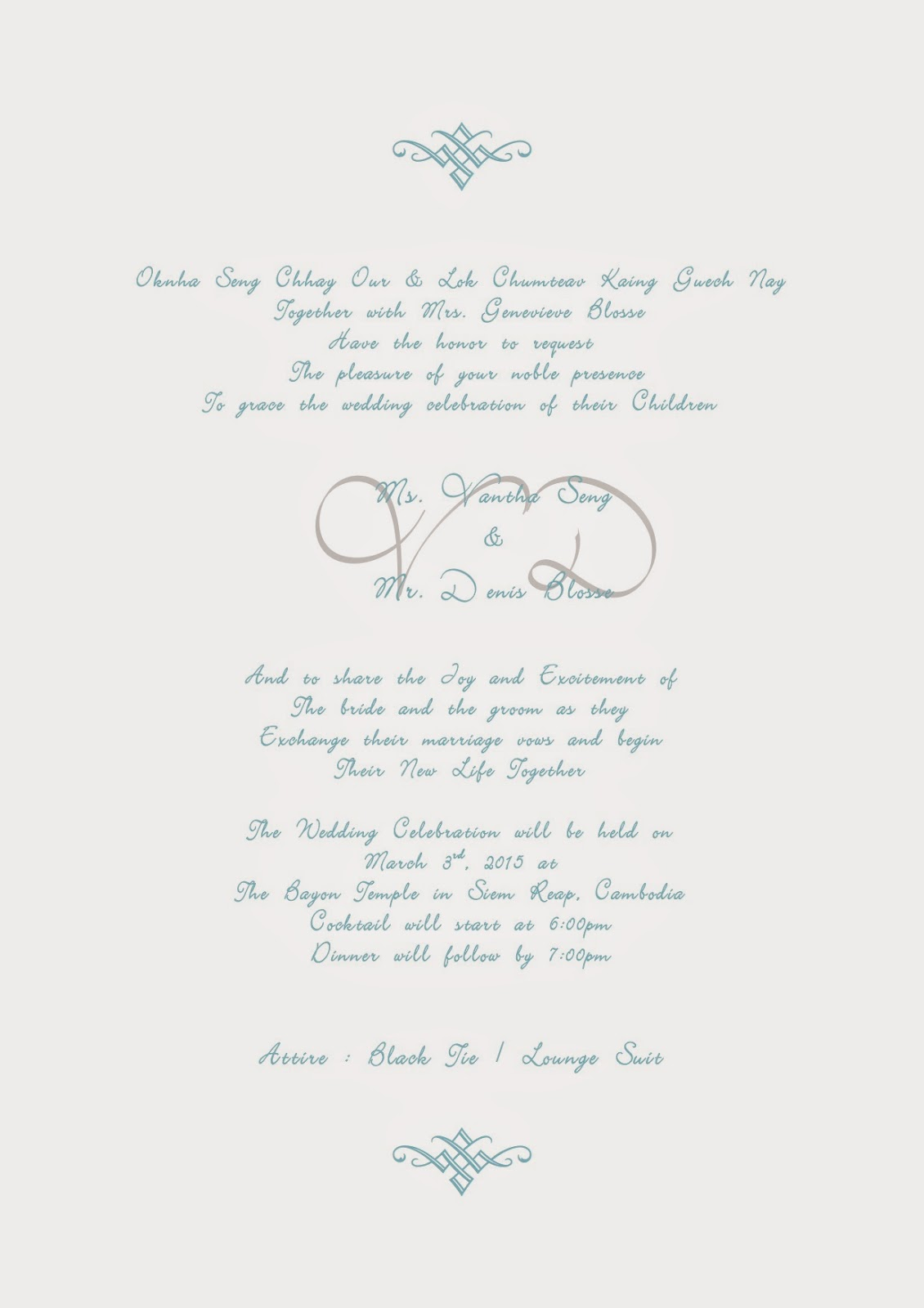 Vantha & Denis Wedding: Dear Friends and Family, You Are Cordially ...