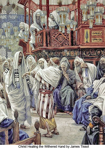 Christ healing the withered hand by James Tissot