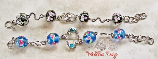 Wire wrapped glass beads bracelets by Wirebliss