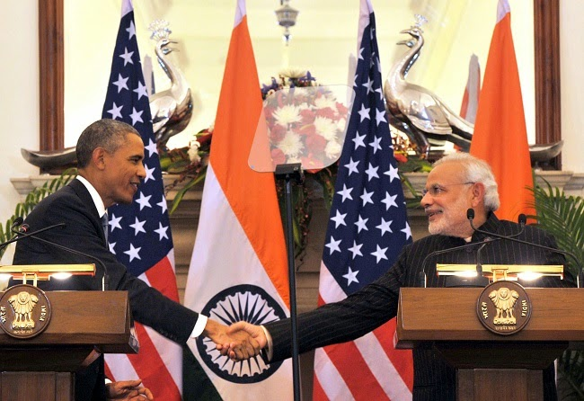 Despite the handshake between Barack Obama and Narendra Modi, no deal was done on Indian emissions reductions. (Credit: Government of India Press Information Bureau) Click to Enlarge.