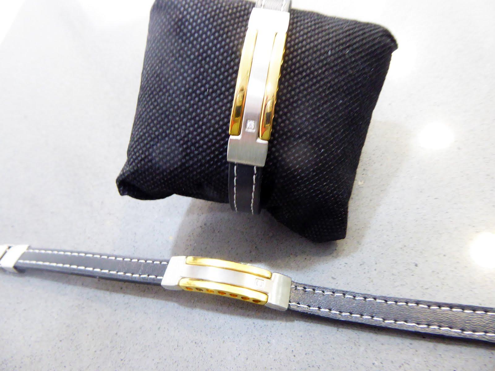 Pulsera de cuero y acero bicolor
