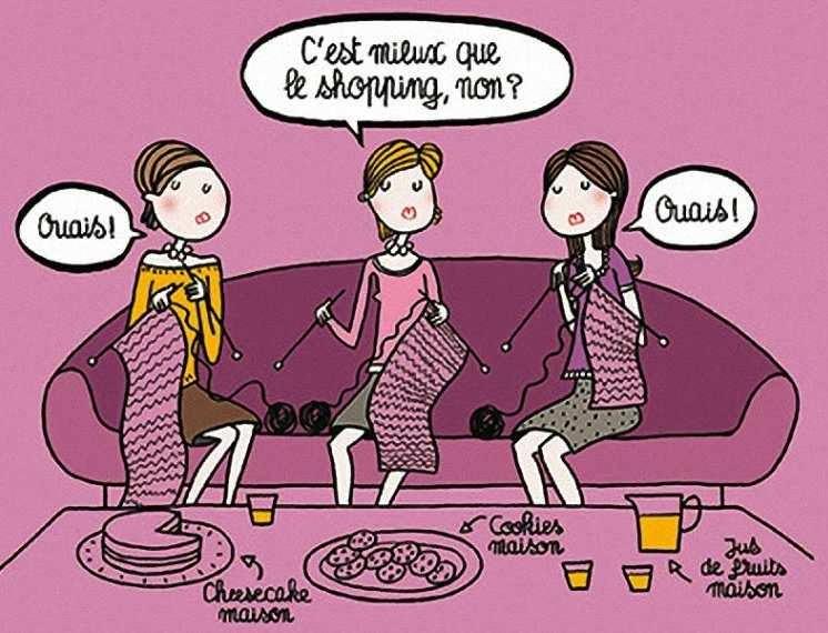 """Ilustração do Le Figaro Madame """"O triunfo da dona de casa"""" - É melhor que ir no shopping, não é? - Sim! - Sim! Na mesa: bolos e suco feitos em casa."""