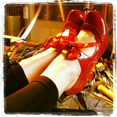 Red shoes and fire!