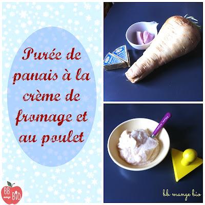 Purée de panais à la crème de fromage et au poulet pour les bébés bio à partir de 8 mois BB mange bio bébé mange bio recette bio hiver