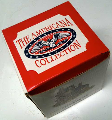 Red, white and blue cardboard box with Americana Collection label