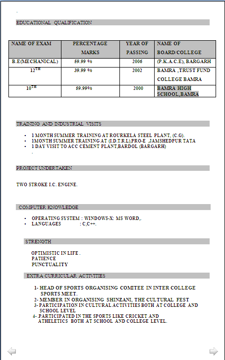 resume blog co  resume sample in word document for b e