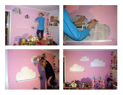 Diy pintar nubes en la pared sobre unas baldas baby deco - Como hacer plantillas para pintar paredes ...
