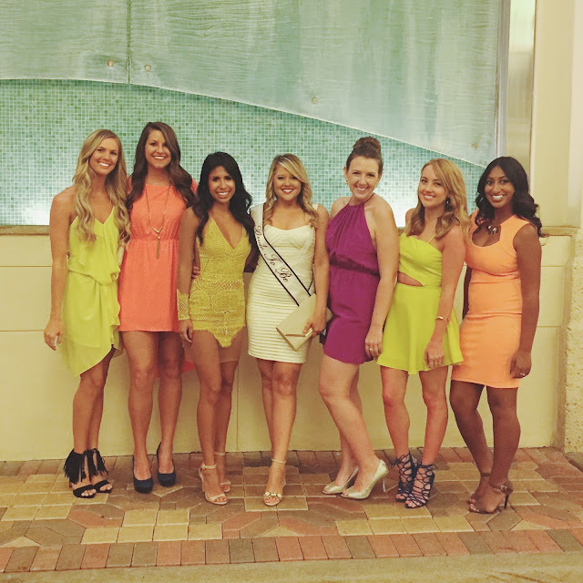 What to wear to Bachelorette Party, bride and bridesmaids outfits, how to wear Neon Dresses
