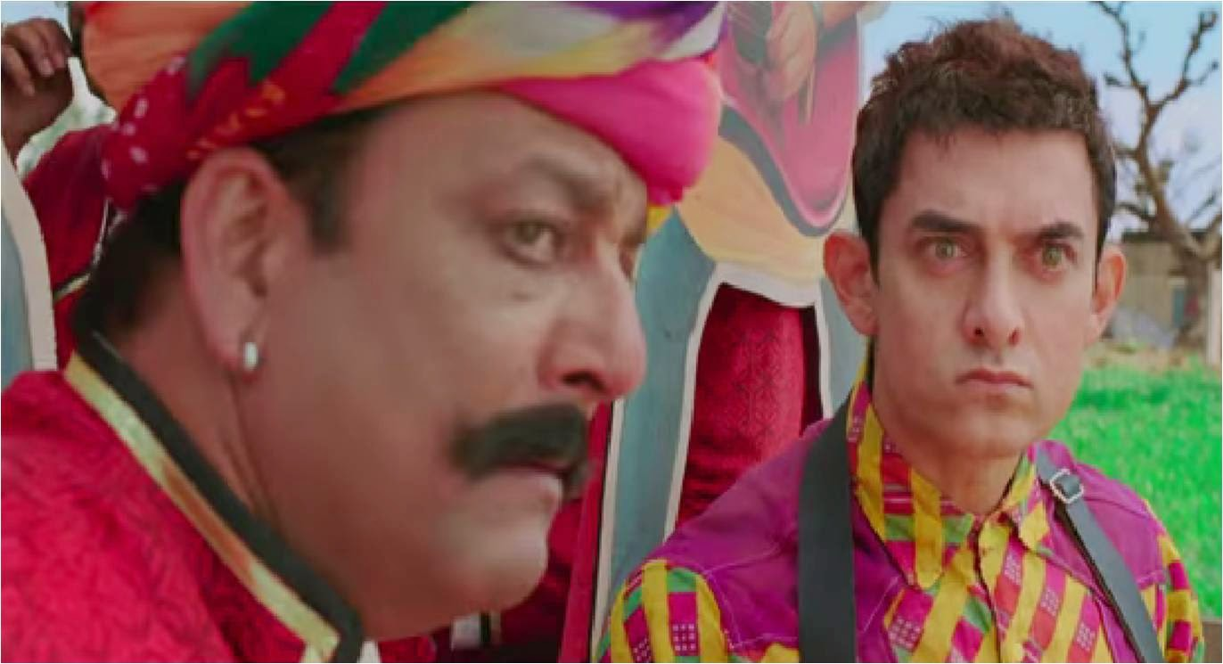 Aamir Khan and Sanjay Dutt in Rajasthani get up for Tharki Chokro Song of Bollywood movie PK (Peekay)