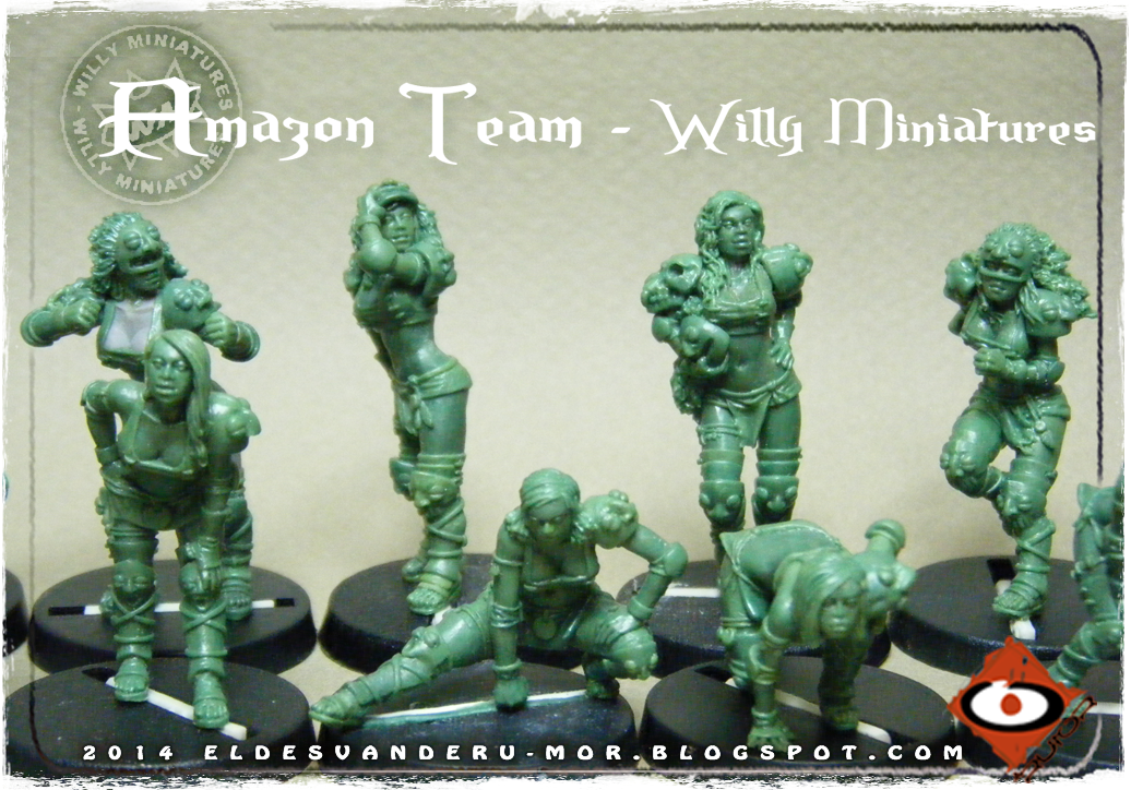 Foto de varias miniaturas del Equipo Blood Bowl de Amazonas de WILLY Miniatures hechas por ªRU-MOR. Blitzers and linewomen, fantasy football