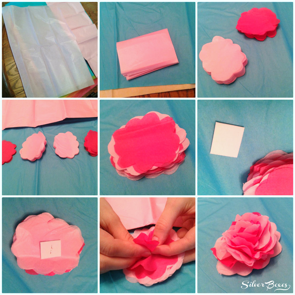 Silver boxes how to make tissue paper flowers to add an adhesive square to the back simply cut a square from an adhesive backed foam sheet or paper mightylinksfo Choice Image