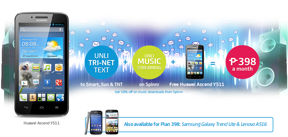 Free Huawei Ascend Y511 at Smart Postpaid Plan 398