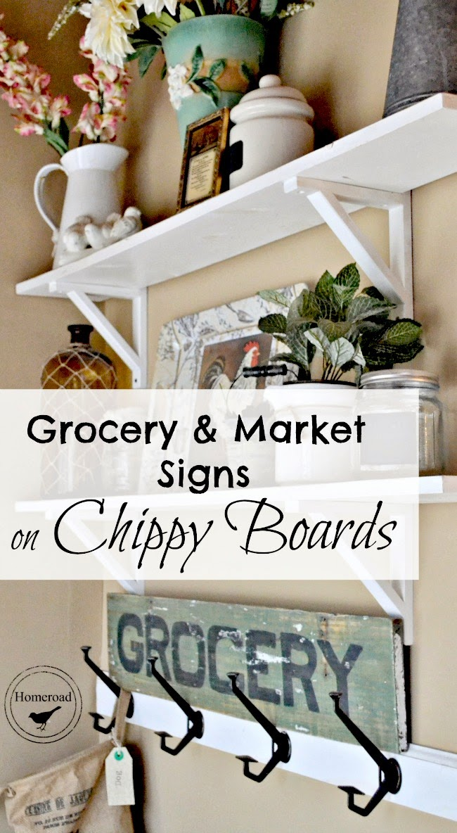 chippy paint Market and Grocery signs with a painting tip www.homeroad.net