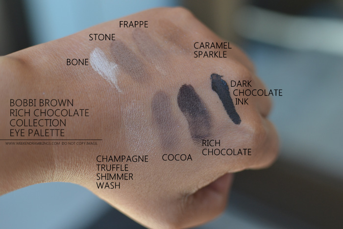 Bobbi Brown Rich Chocolate Makeup Collection Eyeshadow Palette Indian darker skin beauty blog Swatches Bone Stone Frappe Caramel Sparkle Champagne Truffle Shimmer Wash Cocoa Rich Chocolate Dark Chocolate Ink Gel Eyeliner