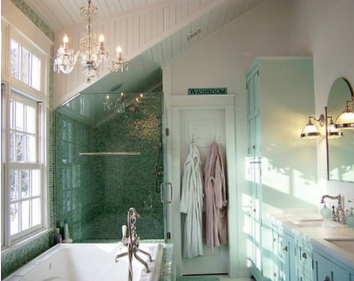 The Pursuit of Pretty Little Things: bathrooms and chandeliers