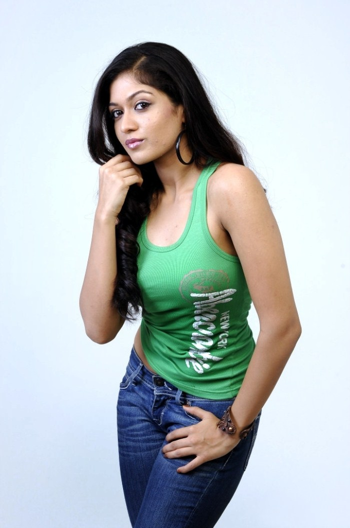 Meghana Raj Sexy Navel Photos In Latest Photoshoot In Green Sleeveless And jeans Showing Black Armpit With Hair