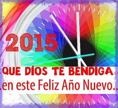 Feliz año nuevo 2015, imagen cristiana de Dios te bendiga, postales de fin de año.