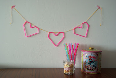 valentines day garland heart diy straw cute candy