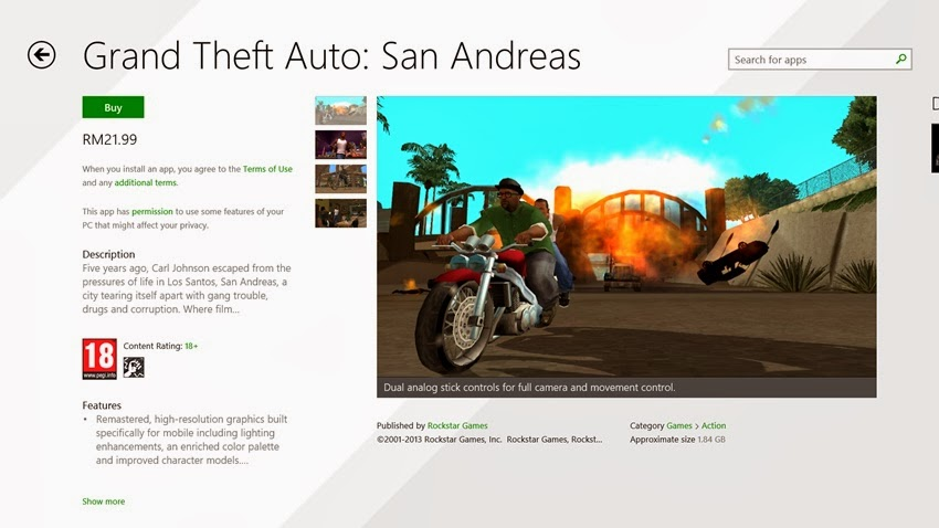 Rockstar Games Publish Grand Theft Auto San Andreas for Windows 8 1