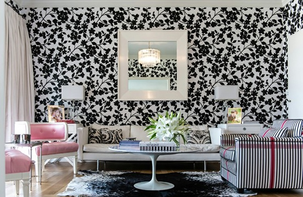 hijau di dalam ruangan ini black and white floral wallpaper