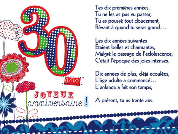 texte anniversaire 30 ans humour