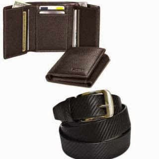Tri Fold Leather Wallet With Royal Belt