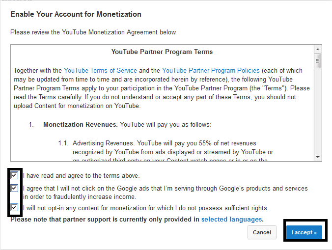 Surat perjanjian pada monetization youtube