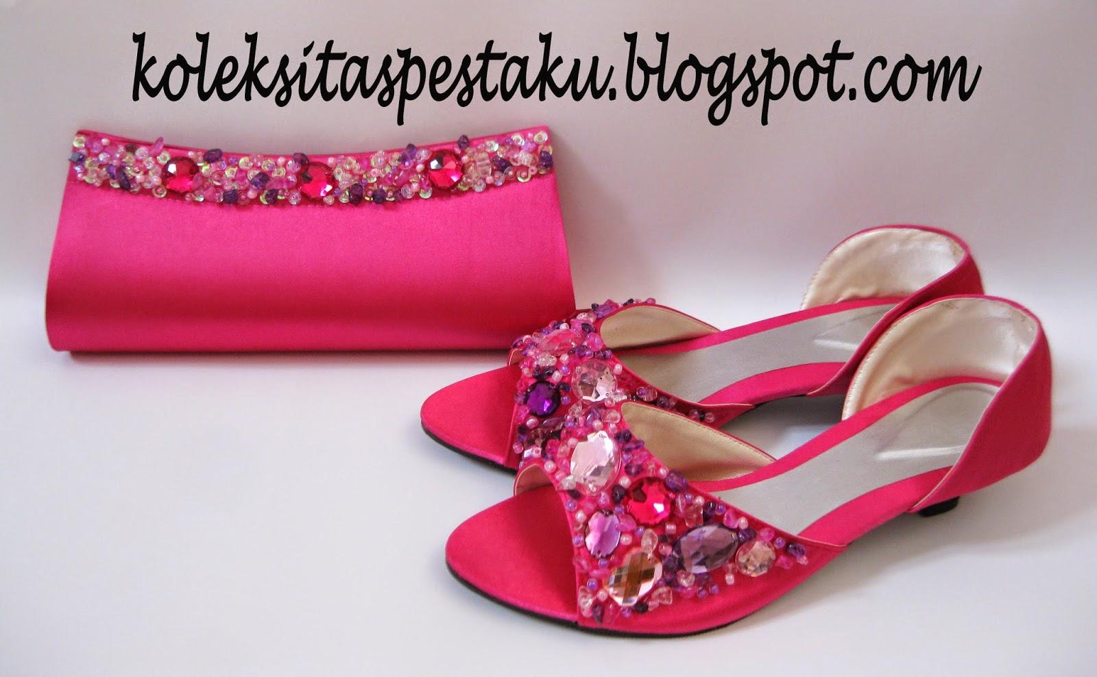 pink fanta mewah sepatu dan tas pesta nya