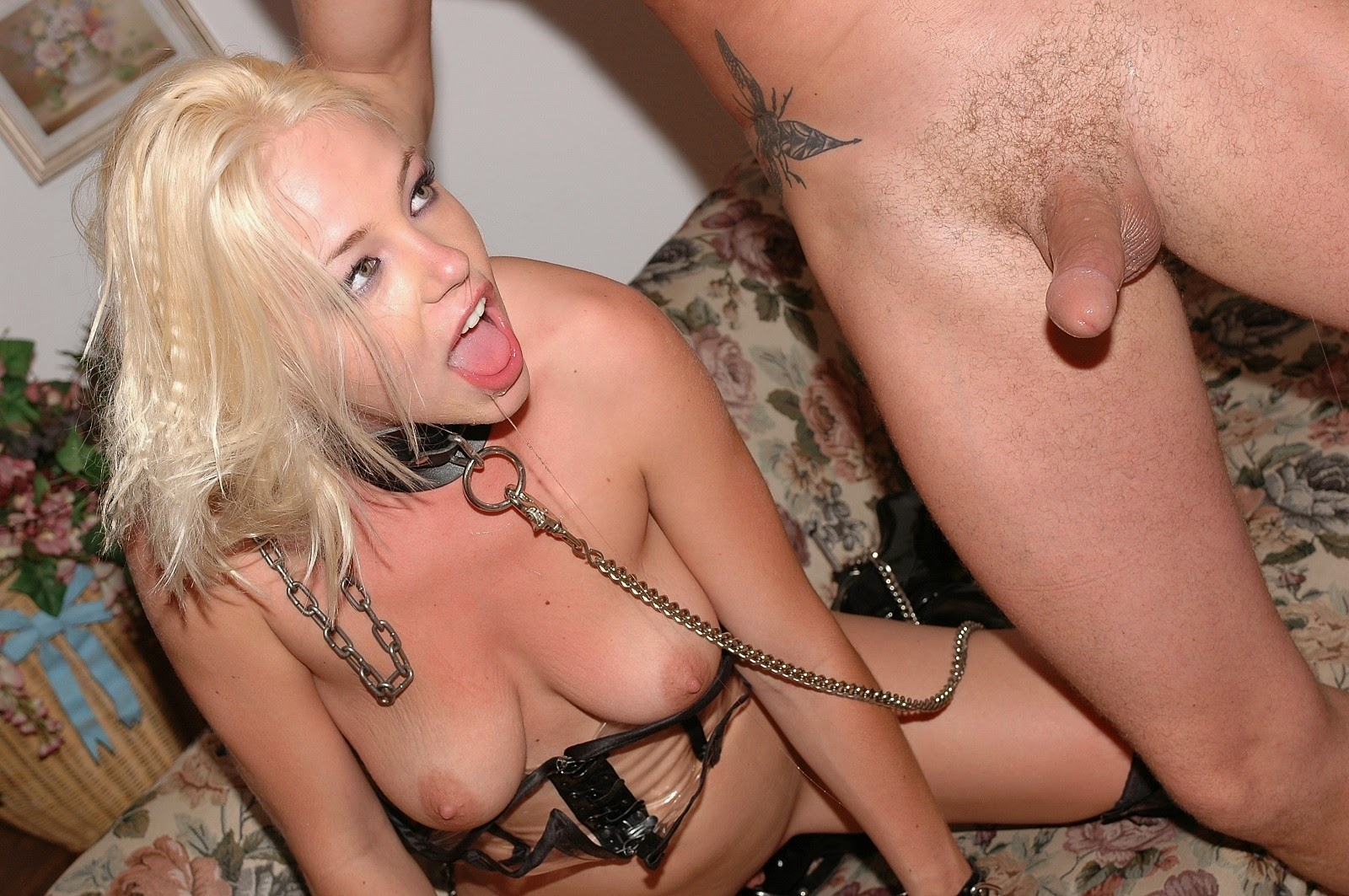 Collar slut about to suck cock