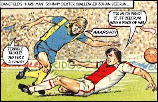 "Johnny ""Hard Man"" Dexter (Danefield United) fouls Johan Seegrun (Alkhoven)"