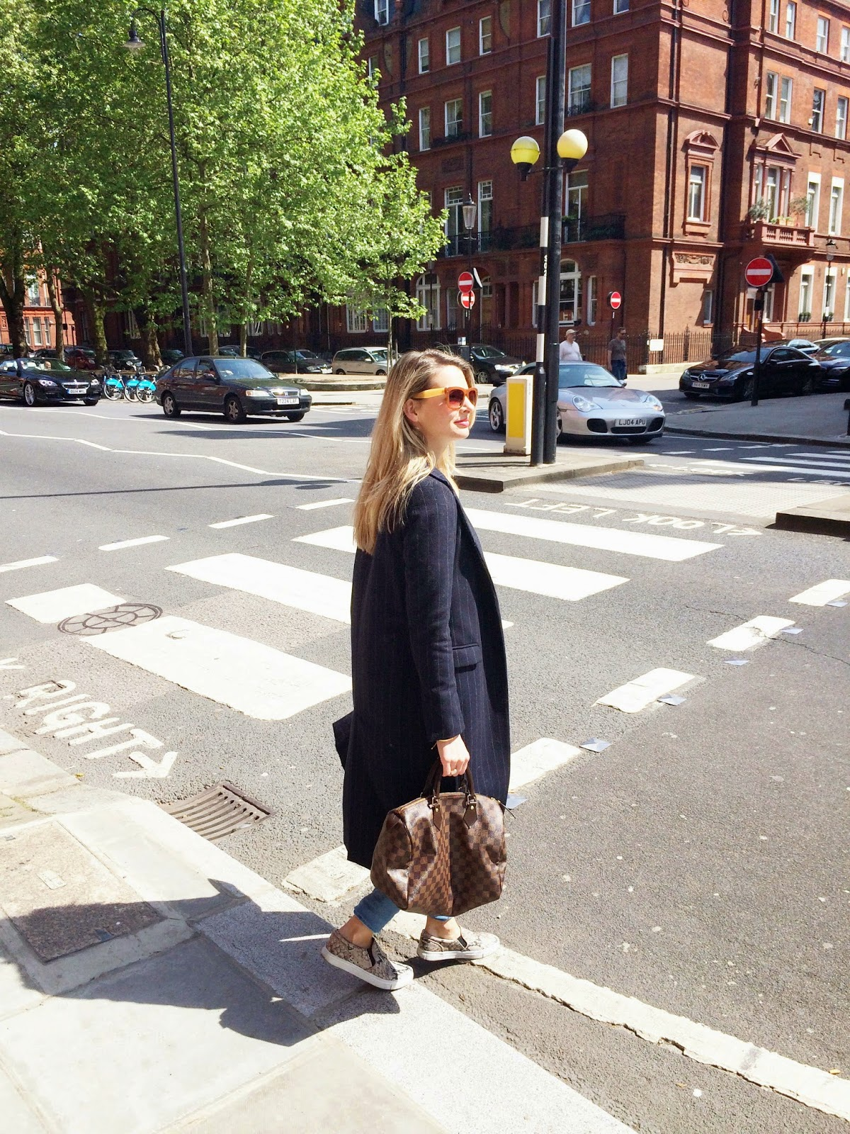 street style, louis vuitton speedy, lv speedy, long coat, pinstriped coat, duster coat, fashion blogger, london fashion blogger, chrissabella, look book, london look book