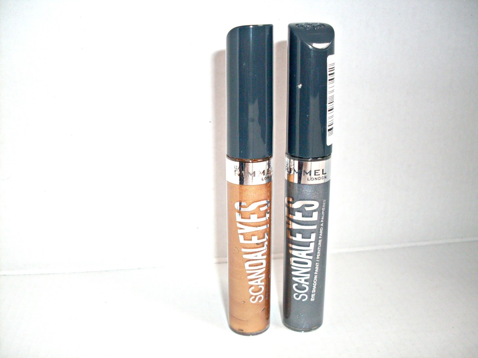 Rimmel Scandaleyes eyeshadow paint in golden bronze and slate grey