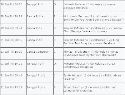 Jadwal Pertandingan Bulu Tangkis Olimpiade London 2012