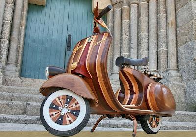 unique vespa, scooter keren, antique scooter, wood scooter