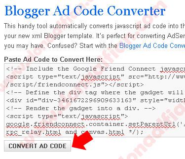 Convert Iklan Adsense untuk Blogspot