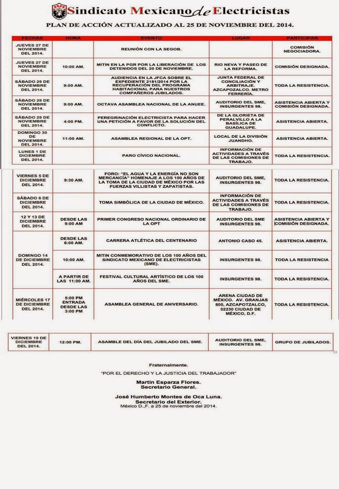 Plan de acción actualizado al 25 de Noviembre del 2014